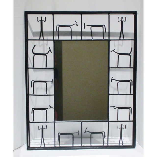 Pair Mirrors 1950's Frederick Weinberg Mid-Century Modern Giacometti Style Wrought Iron For Sale - Image 9 of 9