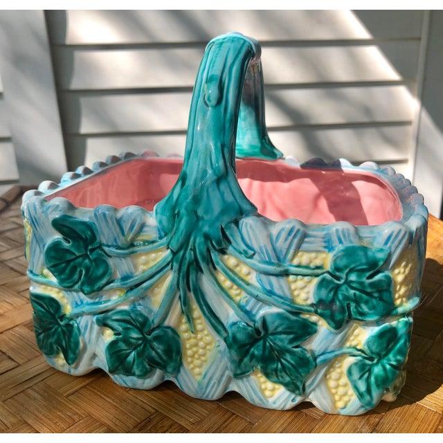 Vintage Faience Ceramic Ivy Basket For Sale - Image 11 of 11
