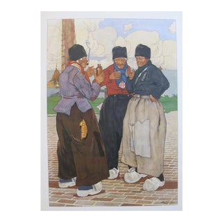 Original Dutch Art Nouveau 1890 Henri Cassiers Poster, 3 Fishermen For Sale