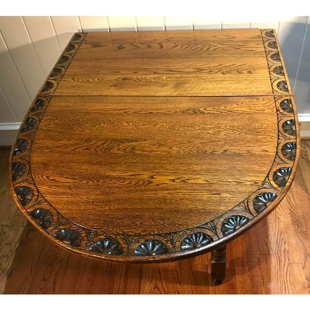 English Vintage Carved Top Drop Leaf Table For Sale - Image 3 of 13