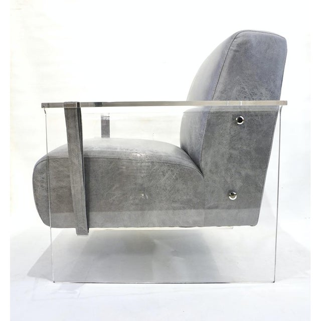 Bespoke Modernist Lucite Acrylic Lounge Armchair - in Showroom For Sale - Image 4 of 12