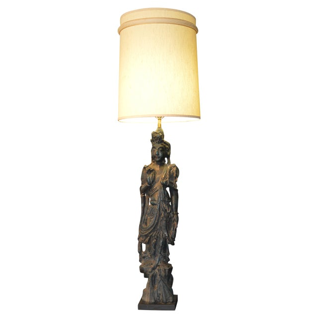 Chinese Bronze Goddess Lamp - Image 1 of 9
