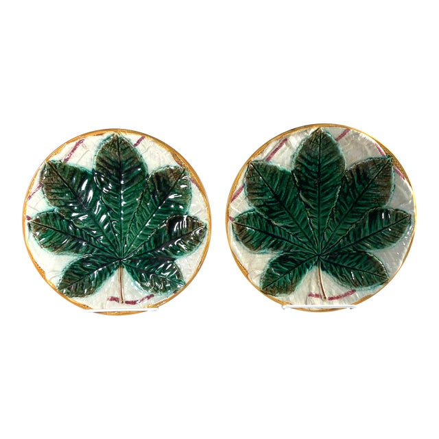 19th Century Aesthetic Movement George Jones Majolica Chestnut Leaf Plates - a Pair For Sale