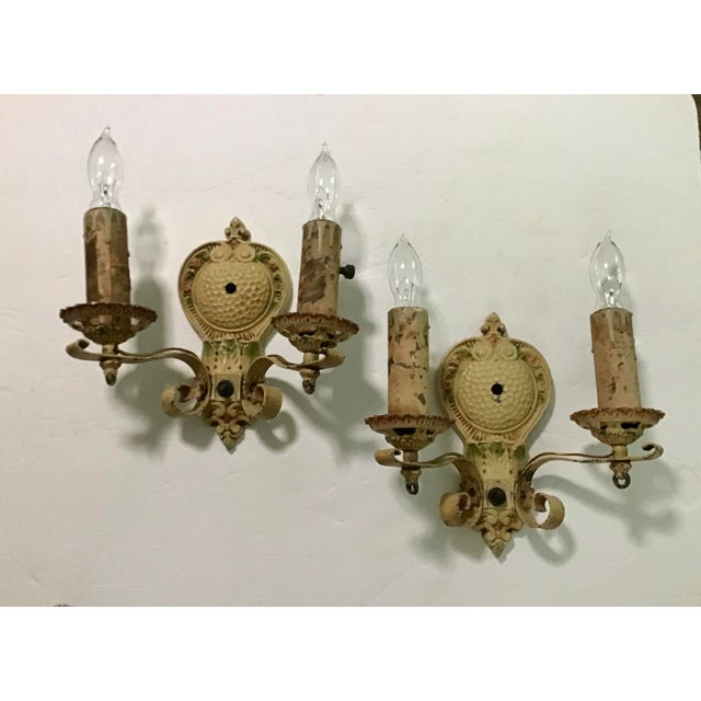 Vintage Art Deco polychrome Double candle wall sconces/ Original, has F in shield Numbers 3820.