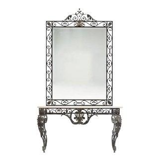 1980s Contemporary Cast Iron Demilune Console Table & Mirror For Sale