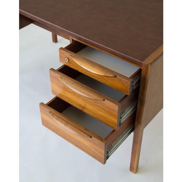 Jens Risom Walnut Desk with Leather Writing Surface For Sale - Image 11 of 11
