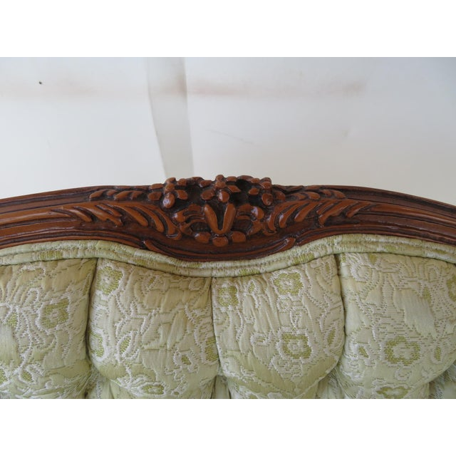 Wood Louis XV Style Light Green Tufted Settee For Sale - Image 7 of 8
