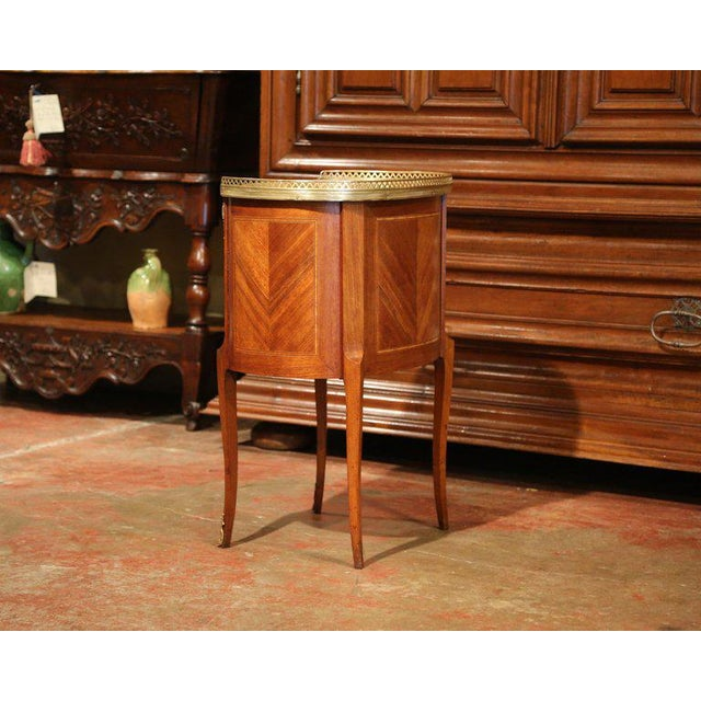 Gold 19th Century French Louis XV Walnut Commode Nightstand Chest With Marble Top For Sale - Image 8 of 10