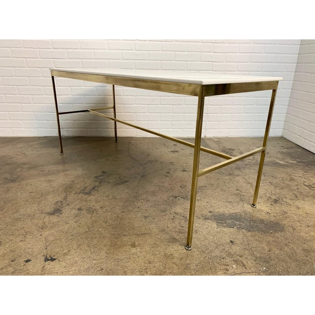 Paul McCobb Brass and Vitrolite Console Table by Paul McCobb For Sale - Image 4 of 13