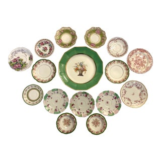 Pink and Green Mixed Decorative Plates- Set of 16 For Sale