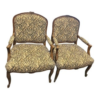 Late 20th Century Vintage Buff & Brown Sueded Upholstery Tiger Pattern Arm Chairs - a Pair For Sale