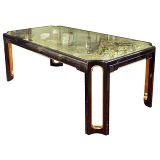 Maison Jansen Eglomise Glass Top Dining Table For Sale