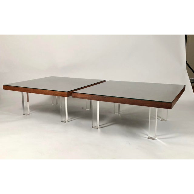 Mid-Century Modern 1967 Milo Baughman Rosewood and Lucite Coffee Tables - a Pair For Sale - Image 3 of 10