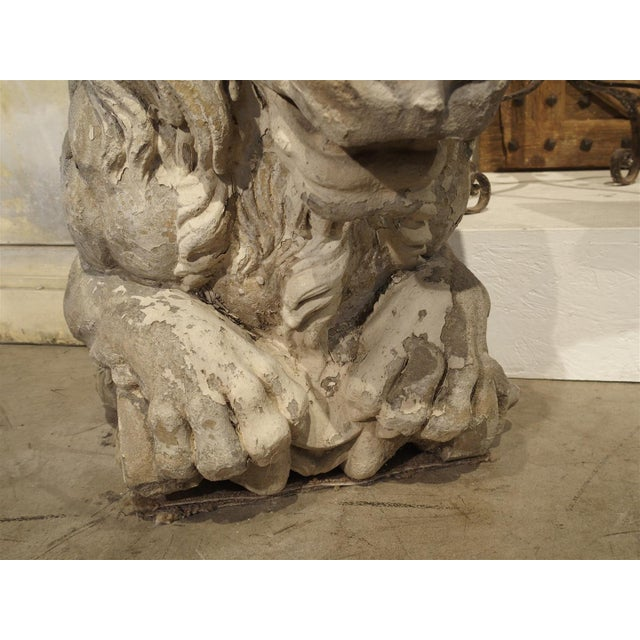 Mid 18th Century Magnificent Pair of Antique Stone French Lion Architecturals For Sale - Image 5 of 10