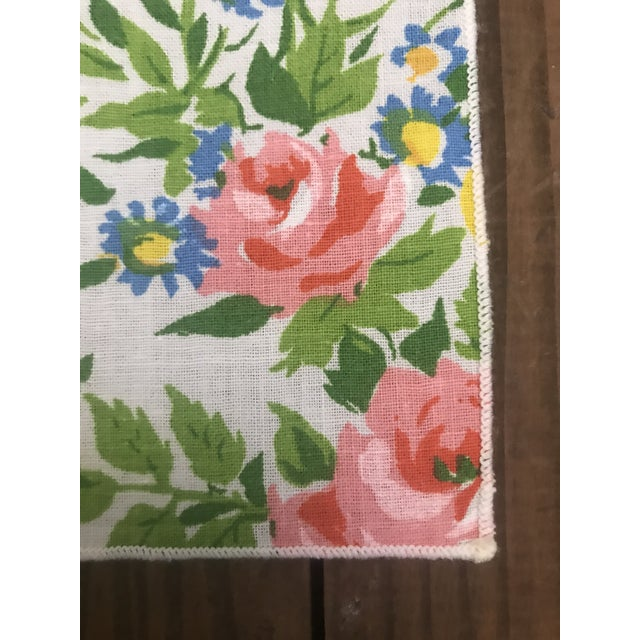 Mid 20th Century Mid 20th Century Vintage Spring Time Floral and Yellow Dinner Napkins - Set of 10 For Sale - Image 5 of 7