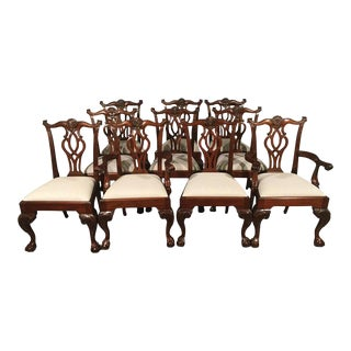 Mahogany Leighton Hall Scroll Back Chippendale Ball and Claw Dining Chairs - Set of 8 For Sale