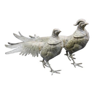 Large Italian Silver Plate Pheasant Figurines - a Pair For Sale