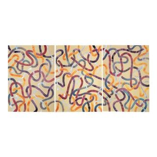 2020 Natalia Roman Triptych of Abstract Patterns Brushstrokes - 3 Piece Set For Sale