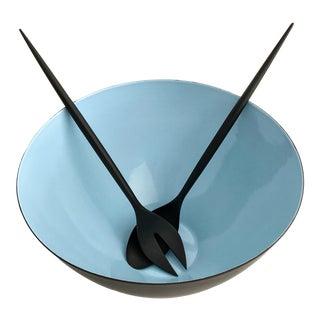 Vintage 1960s Blue Krenit Bowl & Black Krenchel Servers - Set of 3 For Sale