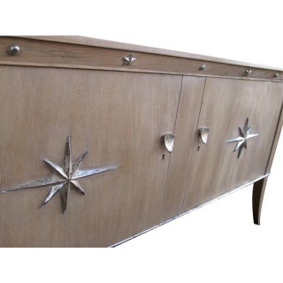 Stylish French Two-Door Cerused Oak Sideboard With Silver Leaf Motifs Preview