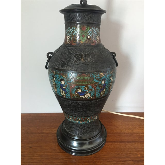 Japanese Antique Japanese Champleve Urn Style Lamp For Sale - Image 3 of 6