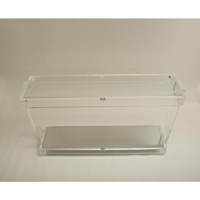 Mid-Century Modern Mid-Century Lucite Console with Inset Mirrored Shelf and Inset Glass Top For Sale - Image 3 of 6