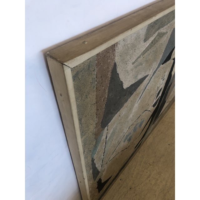 Gray Mid-Century Modern Abstract in Soft Gray Black and Blue For Sale - Image 8 of 12