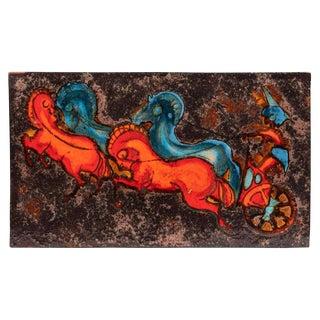 Ruscha Horses & Chariot Ceramic Tile Plaque For Sale