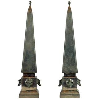 Large Mid Century Portuguese Pewter Obelisk Models With Boar's Heads - a Pair