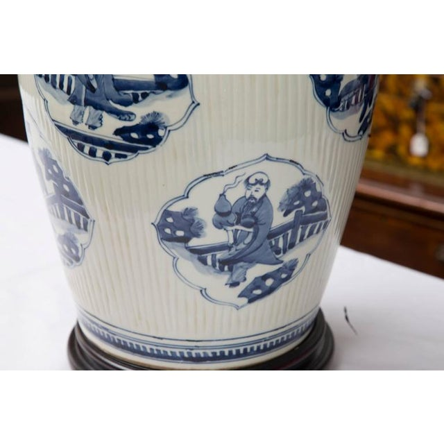 Pair of Chinese Blue and White Lamps - Image 2 of 7