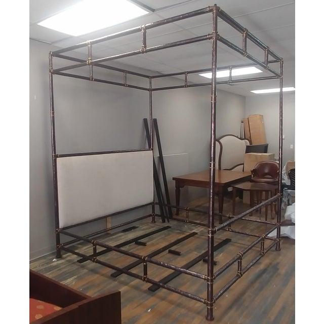 Henredon Furniture Jeffrey Bilhuber Hammered Metal Bank St Queen Canopy Bed For Sale - Image 10 of 12