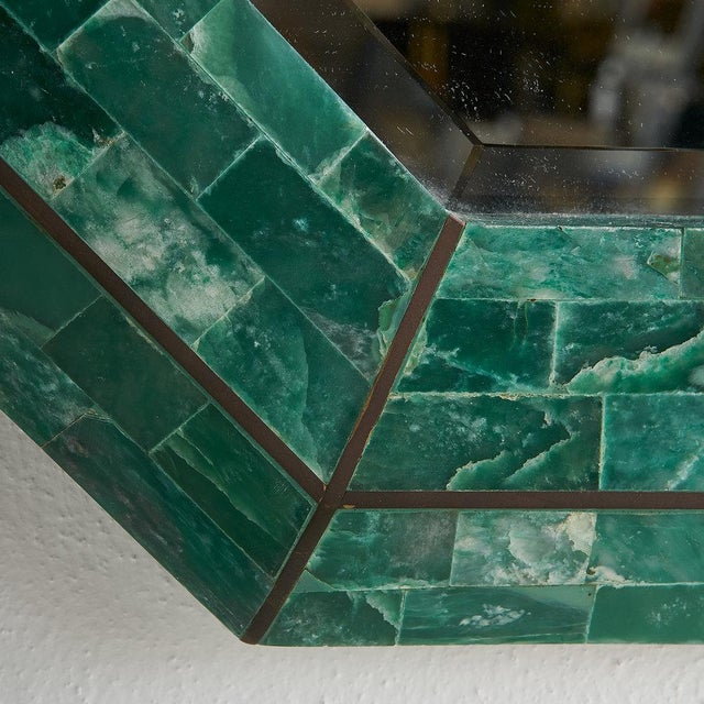 Mid 20th Century Tessellated Green Marble Mirror by Maitland Smith For Sale - Image 5 of 7
