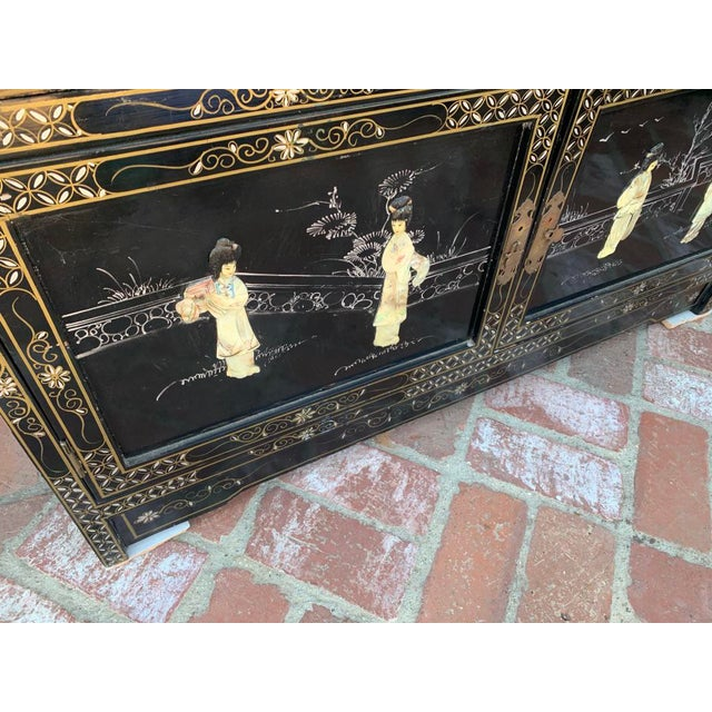 Vintage Black Lacquer Chinoiserie China Cabinet For Sale - Image 4 of 13
