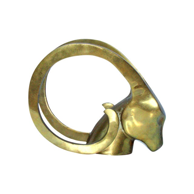 Hollywood Regency Brass Antelope Horns Sculpture - Image 1 of 8