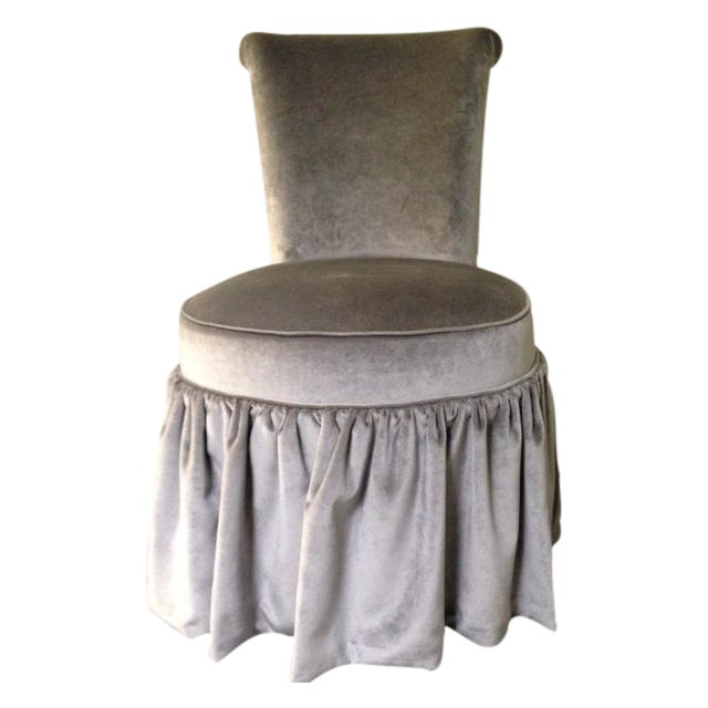 Mariete Himes Gomez Skirted Slipper Chair & Profiles Nyc Black Gesso Scallop Shell Mirror - Image 1 of 8