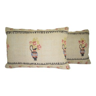 Set of Two Ethnic Aubusson French Decor Lumbar Pillow, Pair Oblong Chair Decor 16'' X 24'' (40 X 60 Cm) For Sale