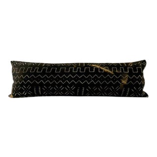 Contemporary African Black Mudcloth Body Pillow For Sale