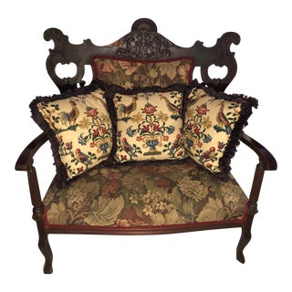 Mid 19th Century Antique Mahogany Victorian Settee For Sale