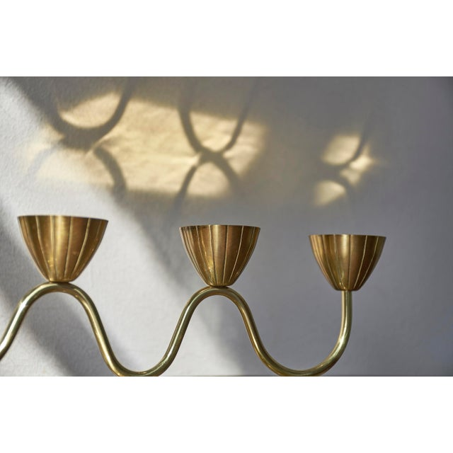 Gold Vintage Gunnar Ander for Ystad Metall Swedish Modern Candelabra, 1950's For Sale - Image 8 of 9