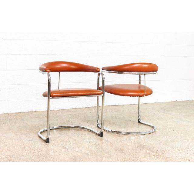1970s Vintage Mid Century Modern Bauhaus Anton Lorenz Burnt Orange Cantilever Arm Chair For Sale - Image 5 of 10
