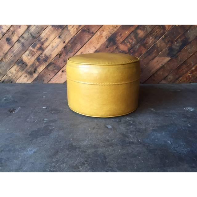 Vintage Mid-Century Mustard Yellow Vinyl Ottoman - Image 4 of 5