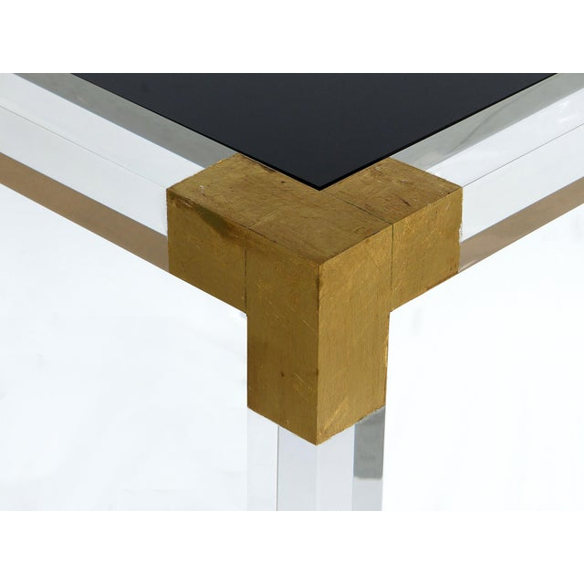 Gold Custom Lucite Side Table W/ Interchangeable Tops & Gold Leaf Accents For Sale - Image 8 of 10