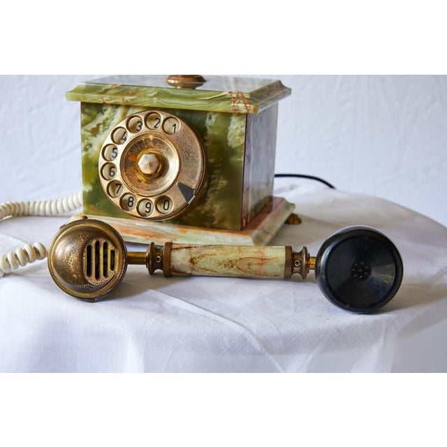 Vintage Italian Green Onyx and Gilded Bronze Telephone For Sale - Image 10 of 13