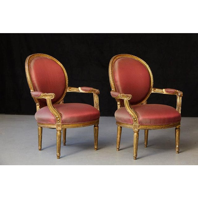 French Pair of French Louis XVI Style Gilded Fauteuils For Sale - Image 3 of 10