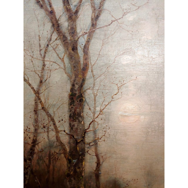 Desiree Thomassin -Hunters in a Winter Wooded Landscape -19th Century Oil Painting For Sale In Los Angeles - Image 6 of 11