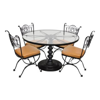 Woodard Andalusian Wrought Iron Round Pedestal Table & Chairs Patio Dining Set For Sale