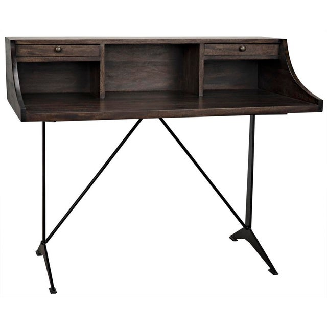 Croft Desk with Metal, Ebony Walnut For Sale - Image 12 of 12