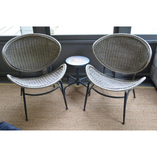 John Salterini Salterini Wicker Clamshell Chairs, Pair, With Steel Frame for Home, Patio, Porch For Sale - Image 4 of 13