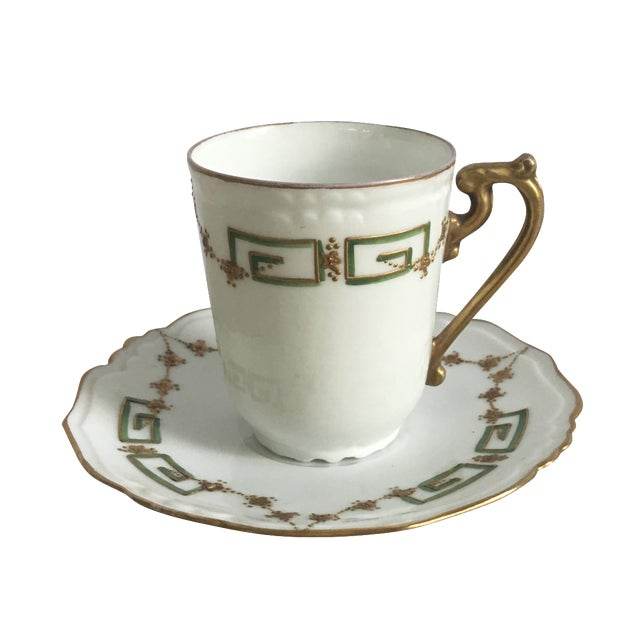 Antique Green, Gold & White Teacup & Saucer - Image 1 of 5