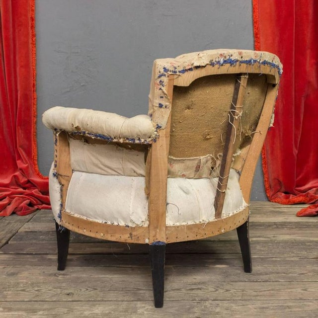 Textile Pair of Small French Art Deco Style Tufted Armchairs For Sale - Image 7 of 10